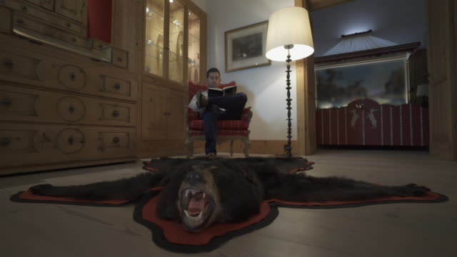 vidéos et rushes de a man reads a book in a chair with a bearskin rug at a ski resort. - tapis