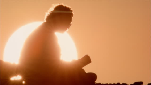 A man reads a book in front of a glowing sun.