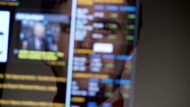 cu, selective focus, man reflected in computer screen, atlanta, georgia, usa - scrolling stock videos & royalty-free footage