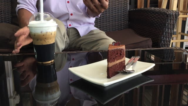 man relax at thai coffee shop - coffee drink stock videos & royalty-free footage