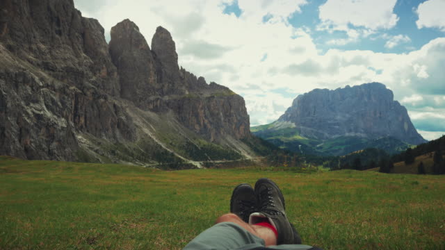 man relaxing on dolomites - siusi stock videos & royalty-free footage