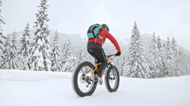 ts man riding a fat bike in snow - wide stock videos & royalty-free footage