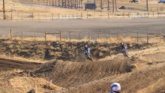 A man riding a motocross motorcycle in the dirt. - Slow Motion - Model Released - HD