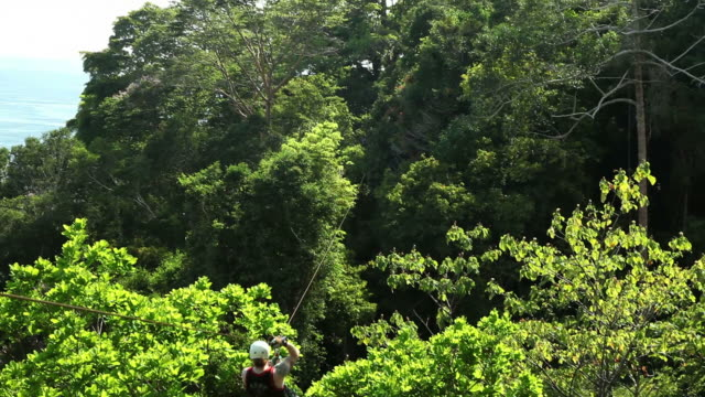 man riding a zipline through the rainforest - ロープスライダー点の映像素材/bロール