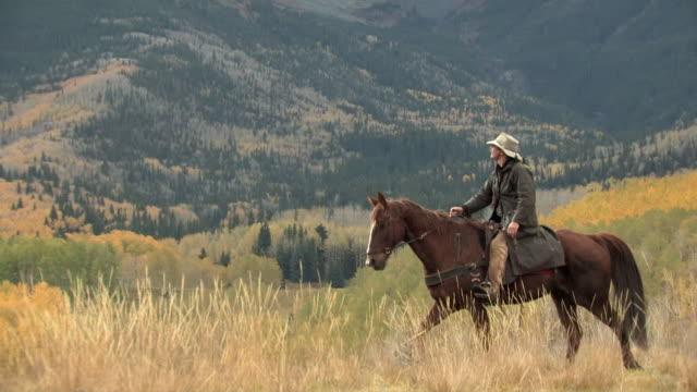 ws, ts, man riding horse in mountain landscape, autumn, san juan mountains, colorado, usa - 乗馬点の映像素材/bロール