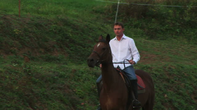 man riding horse in nature - recreational horse riding stock videos & royalty-free footage