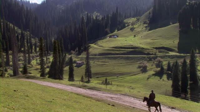 Man riding on horse in Xinjiang, China