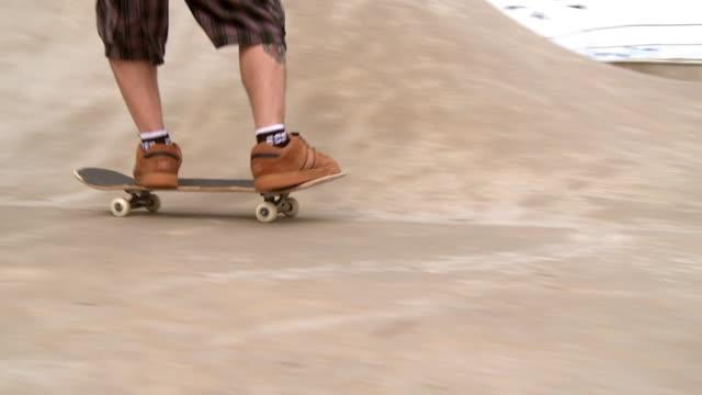 slo mo ts man riding skateboard in skate park, jacksonville, florida, usa - skateboard park stock videos & royalty-free footage