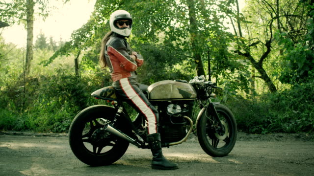 man riding vintage motorcycle - customised stock videos & royalty-free footage