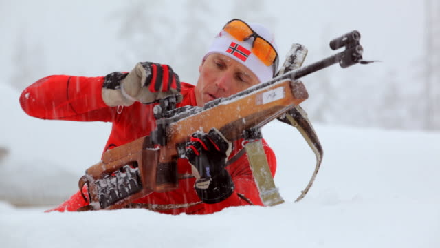 cu pan man rifle shooting in snowy winter day / whistler ,bc ,canada - biathlon stock videos and b-roll footage