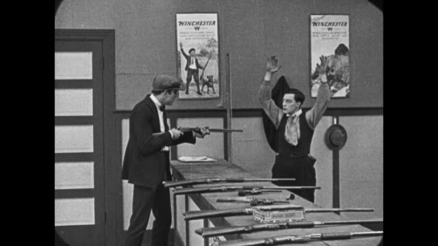 1921 man robs shooting gallery - 1921 stock videos & royalty-free footage