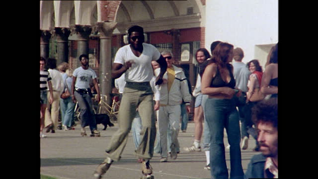 man rollerskating and listening to music, venice beach; 1978 - listening stock videos & royalty-free footage