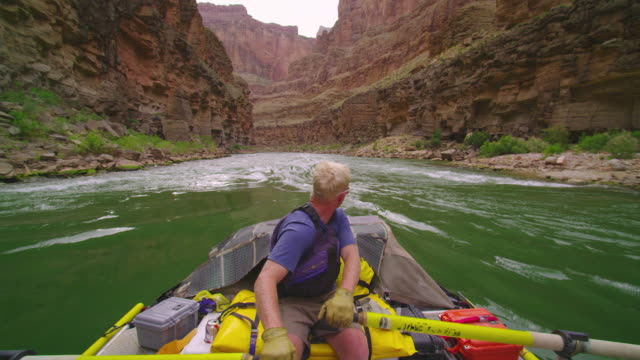ms pov man rowing raft down grand canyon / grand canyon, arizona, usa  - one mid adult man only stock videos & royalty-free footage