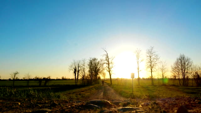 man running at sunset in country road - pjphoto69 stock videos & royalty-free footage