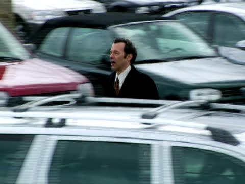 MS, TS, Man running on parking lot, Chappaqua, New York State, USA