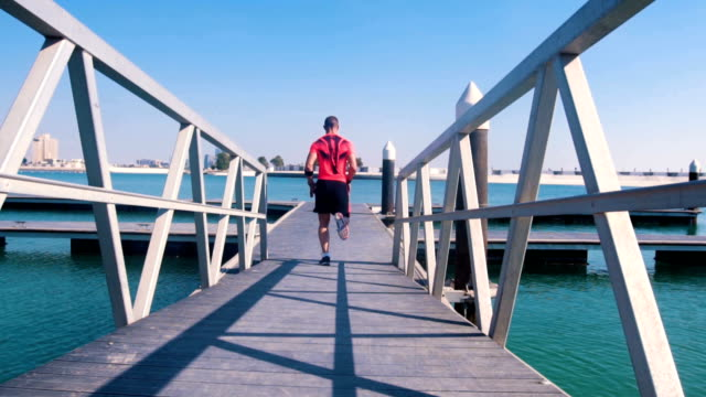 Man running on the dock