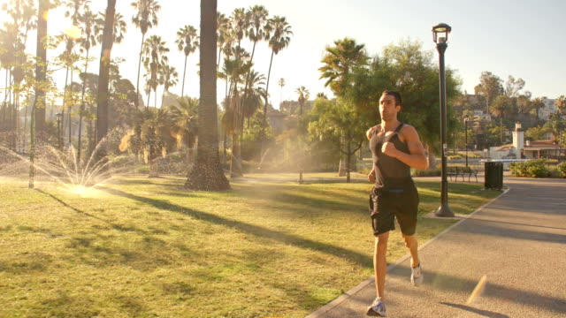 man running park slow-motion - body building stock videos & royalty-free footage