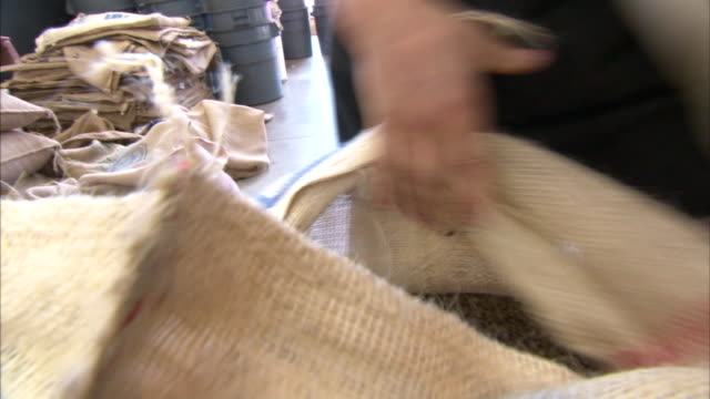a man scoops up raw coffee beans from a burlap sack. - 麻袋点の映像素材/bロール