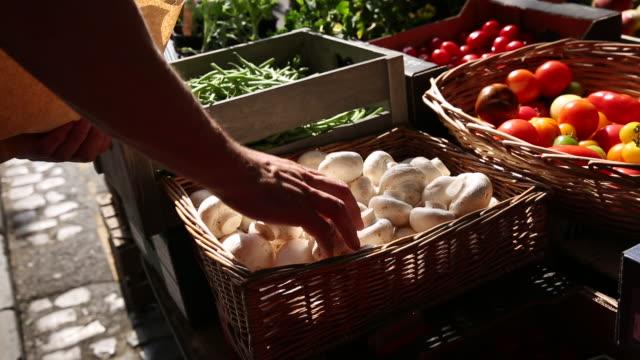 man selects mushrooms in vegetable market, uk - paper bag stock videos & royalty-free footage