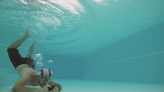 Man selfie underwater with mobile phone