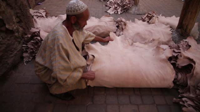 man selling animal skins