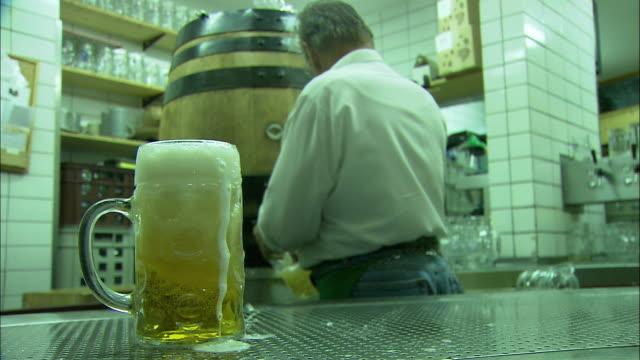 cu man serving beer at beer garden, englischer garten (english garden), munich, bavaria, germany - ミュンヘン エングリッシャーガルテン点の映像素材/bロール