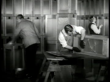 man setting up poll booth. inspecting ballot boxes. ext president franklin 'fdr' roosevelt riding in convertible car. int republican nominee aft... - 1936 stock videos & royalty-free footage