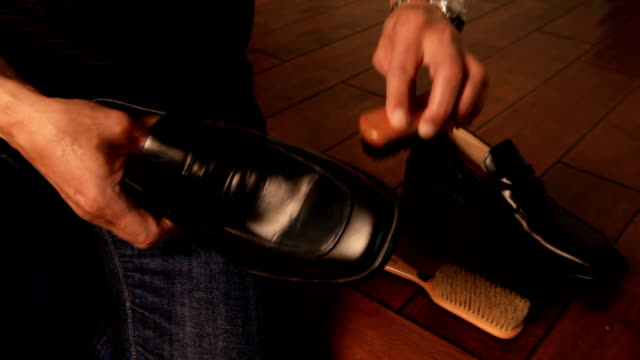 man shining shoes - dress shoe stock videos and b-roll footage