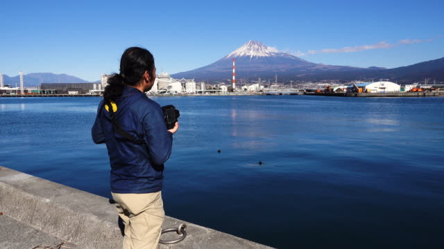 a man shooting mt. fuji with his dslr - digital camera stock videos & royalty-free footage
