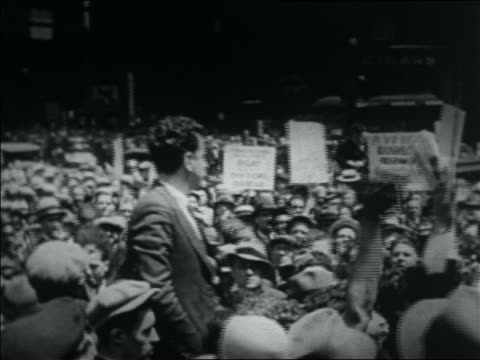 b/w 1932 man shouting speech to crowd of wwi veterans at bonus march / nyc - 1932 stock videos & royalty-free footage