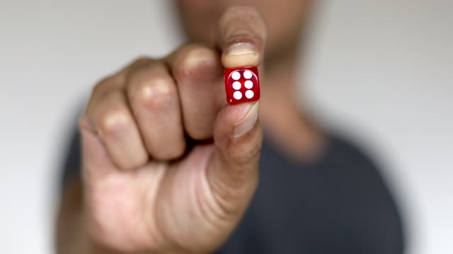 man showing dice - number 6 - luck - number 6 stock videos & royalty-free footage