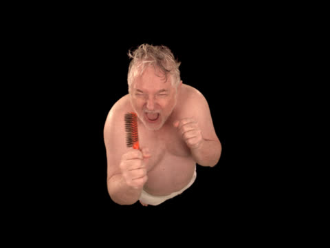 man singing in shower - this clip has an embedded alpha-channel - pre matted stock-videos und b-roll-filmmaterial