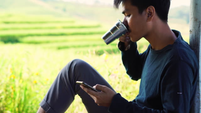 man sitting at patio using his mobile phone while drinking the tea - plantation stock videos & royalty-free footage