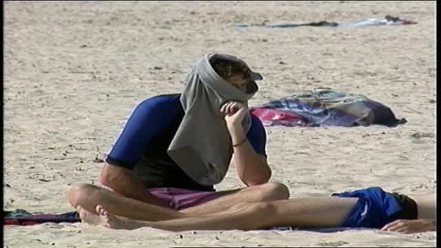 Man Sitting on Beach with Shorts on his Head in Perth Australia
