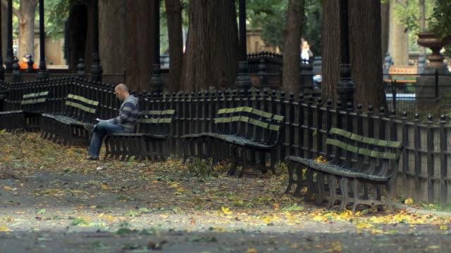 vidéos et rushes de ws man sitting on bench in central park / new york city, usa - central park