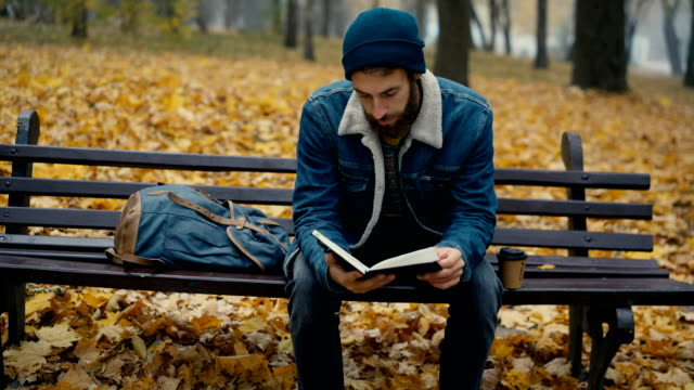 man sitting on bench in park in the morning in autumn - routine stock videos & royalty-free footage