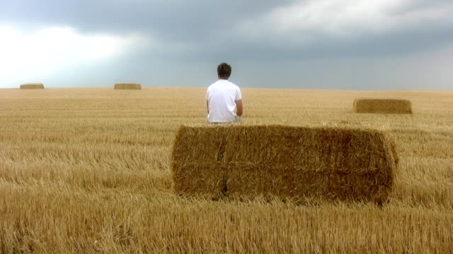 hd slow motion: man sitting on hay bale - hay isolated stock videos & royalty-free footage