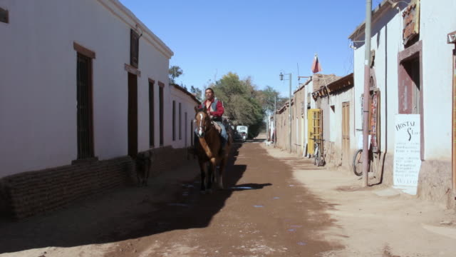 ms pan man sitting on horseback in san pedro and rides through alleyway / angostura, chile - wiese stock videos & royalty-free footage