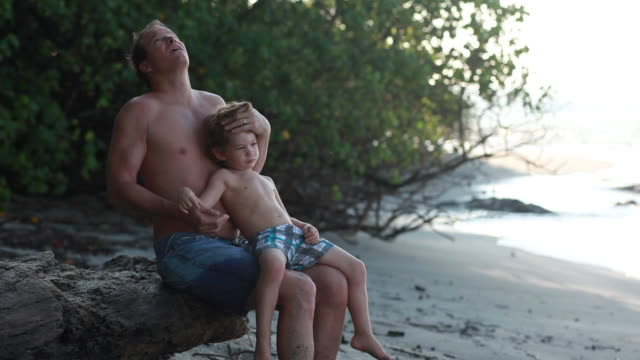 ms man sitting on log on beach with boy on his lap / montezuma, puntarenas, costa rica - kelly mason videos stock videos & royalty-free footage
