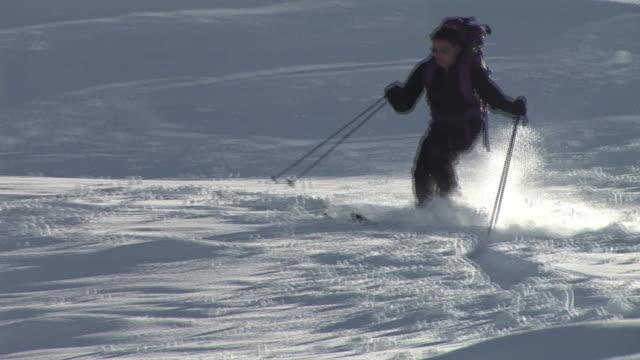 ws, ts, man skiing down hill, komna, triglav national park, slovenia - triglav national park stock videos and b-roll footage