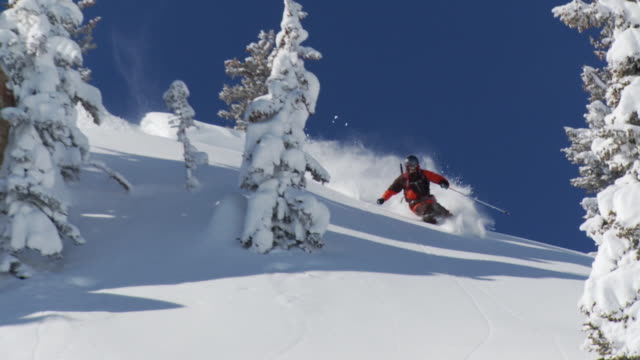 WS TS ZI SLO MO Man skiing down on deep powder snow / Alta, Snowbird, Utah, USA