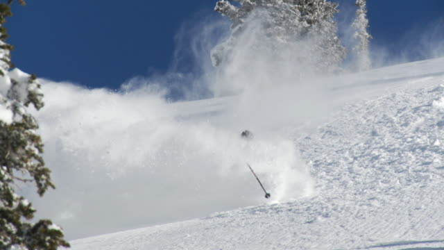 ws slo mo man skiing down on deep powder snow / alta, snowbird, utah, usa - ユタ州 アルタ点の映像素材/bロール