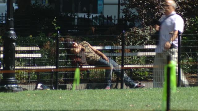 WS Man sleeping in Madison Square Park / New York City, New York, USA