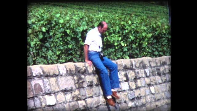 1980 man slides down off high stone wall - stone wall stock videos & royalty-free footage