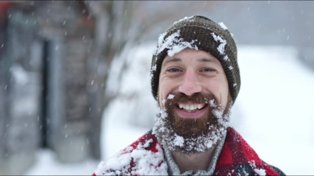 Man smiling on a winter's day in Vermont