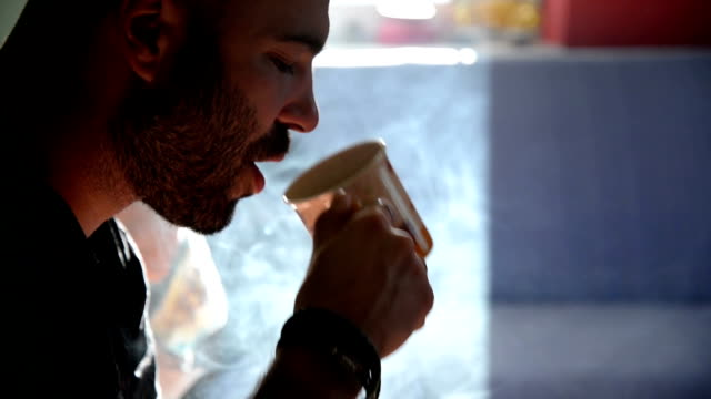man smoking cigarette. close up. - the morning after stock videos & royalty-free footage