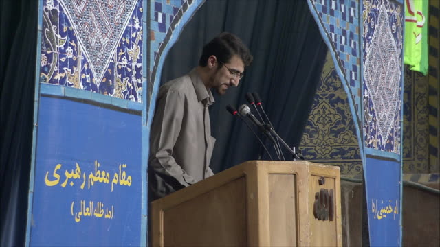 ms man speaking from behind lectern in imam mosque, esfahan, iran - preacher stock videos and b-roll footage