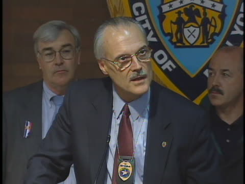 man speaking in a press-conference about anthrax and public safety for citizens and postal workers. - 2001 stock videos & royalty-free footage