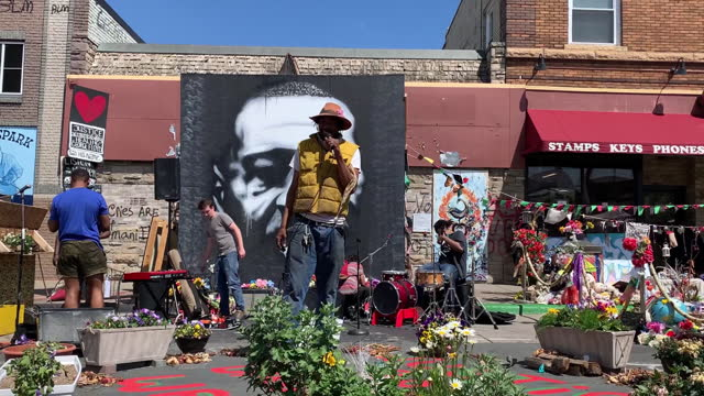 man speaking on stage during rise and remember festival at george floyd square in minneapolis, minnesota, u.s., on tuesday, may 25, 2021. since... - male likeness stock videos & royalty-free footage