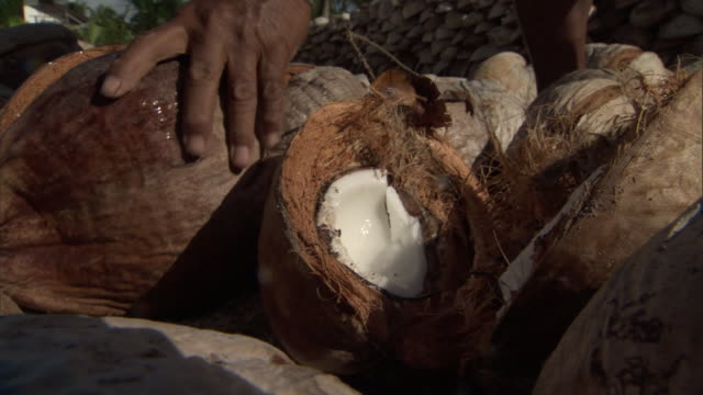 man splits coconuts with axe, french polynesia - ココナッツ点の映像素材/bロール